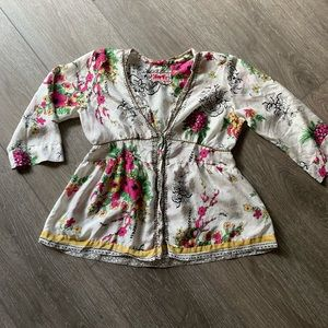 Johnny Was silk shirt floral blouse button down S
